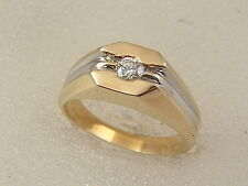 14K MEN'S SOLITAIRE DIAMOND RING 14 KARAT SOLID GOLD 0.25 Ct CLASSIC PINKY RING
