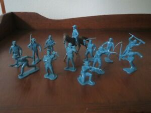 Marx Vintage 54mm 7th Cavalry 13 Different Aqua Soldiers  & Horse