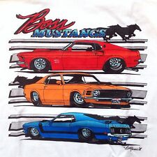 Boss Mustangs Muscle Car White Graphic Tee T-Shirt By Brad Barrie