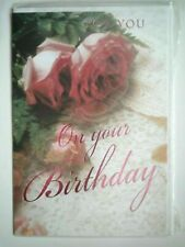 """ROSES """"FOR YOU ON YOUR BIRTHDAY"""" GREETING CARD + ENVELOPE"""