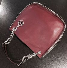 NWT AUTHENTIC MICHAEL KORS CHELSEA CHAIN MERLOT LEATHER LG SHOULDER TOTE BAG