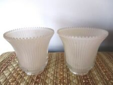 Pair Vintage Pleated Frosted Glass Globes for Tole, Antique, or Student Lamp