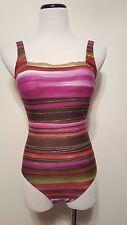 Gottex Metallic Striped One Piece Swimsuit Gold Purple Brown Sz S/M