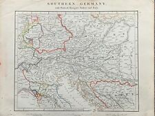 1841 SOUTH GERMANY AUSTRIA HUNGARY HAND COLOURED ANTIQUE MAP BY ARROWSMITH