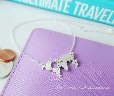 Unique Silver cut out world map travelers wonderlust globe Pendant necklace