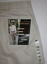 Mens Lee Soft Touch Cuffed Double Pleat Alabaster Beige Dress Pants 38x30 NWT