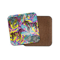 Funky Leopard Zebra Print Coaster - Neon Mum Auntie Sister Cool Fun Gift #13202