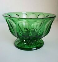 Vintage Pressed Depression Glass Christmas Emerald Green Footed Bowl Candy Dish