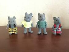 Vtg Lot 4 Grey Mice Calico Critters Sylvanian Family Flocked Animal Mouse