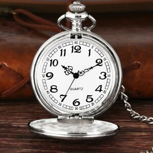 Vintage Quartz SILVER Pocket Watch with Chain 1920's Classic Peaky Blinder Style