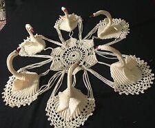 """Amazing Swan Bridal Crochet Doily for Bride's Bouquet Vase 16"""" across, 5 3/4"""" ce"""
