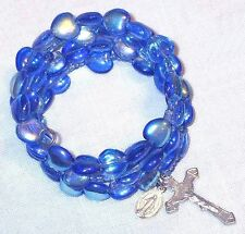 Rosary bracelet, blue AB Czech glass heart beads B34