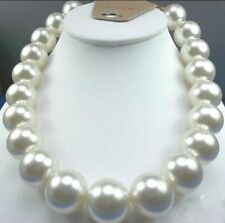 """Huge 18""""16mm Natural south sea perfect round white pearl necklace good luster"""