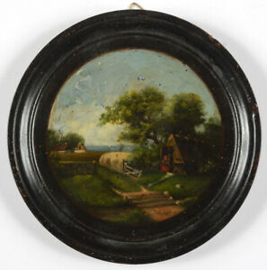 """Dutch village scene"", oil miniature, 19th century"