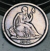1837 Seated Liberty Dime 10c No Stars Large Date CHOICE Silver US Coin CC6973