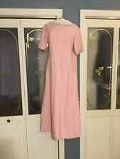 "Vintage ""Marie Christine"" 1960's Mod Pink Floral Appliqué With Caped Back Dress"