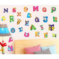 Alphabet & Animals Vinyl Mural Wall Stickers Baby Kids Room Decals Decor TR