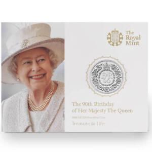 2016 Queen Elizabeth 90th Birthday UK £20  .999 Fine Silver 1/2 oz  BU Coin