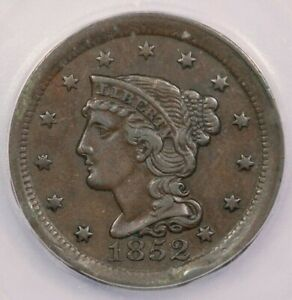 1852-P 1852 Braided Hair Large Cent ICG EF40 XF40 Details