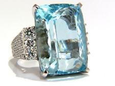 Classic Aqua Blue Cushion Cut 40.CT Aquamarine & 3.11CT Round CZ Engagement Ring
