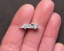 6 Fire Truck Charms Antique Silver Tone 3D Detailed - SC175