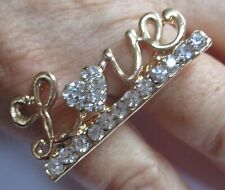 Gold Double Ring 2 Finger Ring LOVE Design in Diamontes Brand New