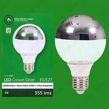 2x 5W LED Instant On Crown Silver Top Reflector G80 Clear Light Bulb Lamp ES E27