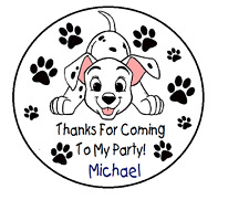 101 DALMATIONS BIRTHDAY PARTY THANK YOU FOR COMING TO MY PARTY STICKERS FAVORS