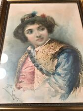 Beautiful Italian School Portrait Painting Of A Woman Signed