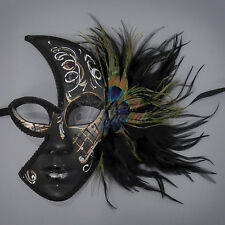 Peacock Feathers Half Venetian Masquerade Mask for Women M1285A [White Swirls]