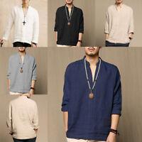 Men Loose Style V-Neck Long Sleeve Cotton Casual Shirt Collar Linen T-shirt