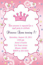 30 Princess Birthday Invitation With Butterflies And Pink Crown For Girl A1