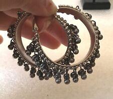 Indian Traditional Afgani Silver Black Bells Oxidized Jhumka Jhumki Hoop Earring