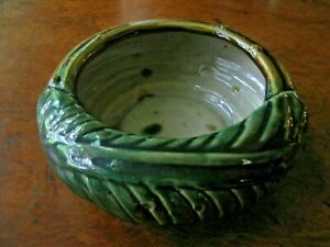 """Vintage Majolica Style Art Pottery Planter Tropical Leaf Bamboo Low Round 7"""""""