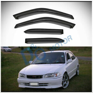 4pcs Smoke Sun/Rain Guard Vent Shade Window Visors Fit 98-02 Corolla/Prizm