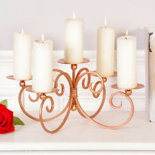 Opulent Vintage Victorian Antique Style Copper Ornate Five Pillar Candle Holder