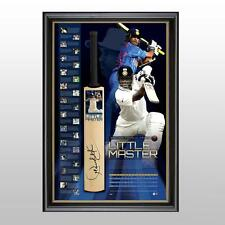 SACHIN TENDULKAR INDIA HAND SIGNED FRAMED LIMITED LITTLE MASTER CAREER BAT DOHNI