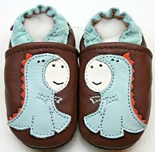 soft sole leather baby shoes dragon brown  0-6 m  first infant crib Minishoezoo