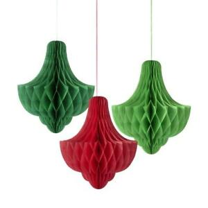 TALKING TABLES 3 x Bauble Honeycomb Decorations Red & Green