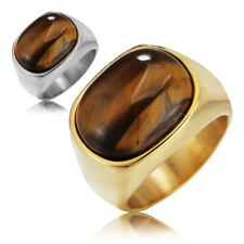 Luxury Unisex Ring Tiger's Eye Oval Stone Stainless Steel Solid Band Size 7-12
