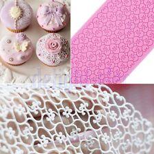 Hearts Lace Mat Silicone Icing Sugarcraft Mould Mold Wedding Cake Baking DE