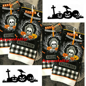 Lot 4 Halloween Kitchen Dish Towels Set of Have A Spooktacular Halloween