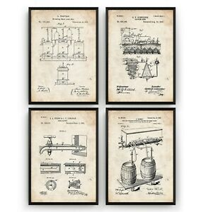 Beer Brewing Set Of 4 Patent Prints - Pub Poster Wall Art Print Gift - Unframed