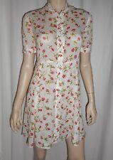 Reformation Floral Dress Shirt Dress Flared Skirt Short Sleeves Size 2