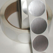 Dull Silver Metallic Foil Seals, 2 Inch Circle, Roll of 1,000 Peel & Stick