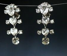 Patent pending signed clear rhinestone hearts silver tone clip on EARRINGS