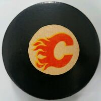 CALGARY FLAMES VINTAGE VICEROY MADE IN CANADA NHL APPROVED OFFICIAL GAME PUCK
