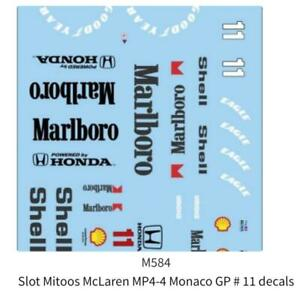 Mitoos M584 McLaren MP-4 Monaco GP #11 1:32 Scale Decals F1 New