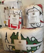 Pottery Barn Teen Peanuts Holiday QUEEN quilt shams sheet set Charlie Brown