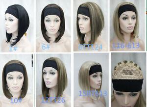 Ladies Wig 3/4 Half Wig Long Straight Women Lady Headband Cosplay Wigs+Wig Cap